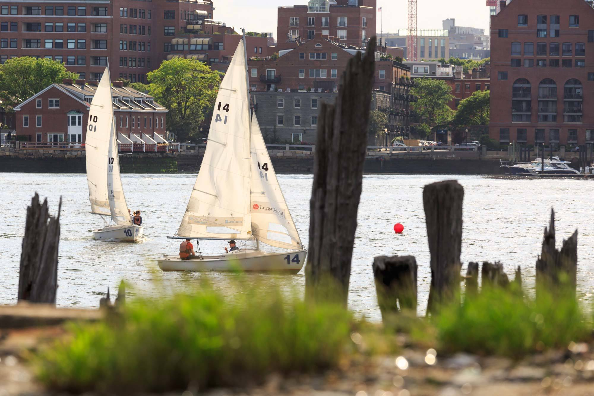 East Boston sail boats on river