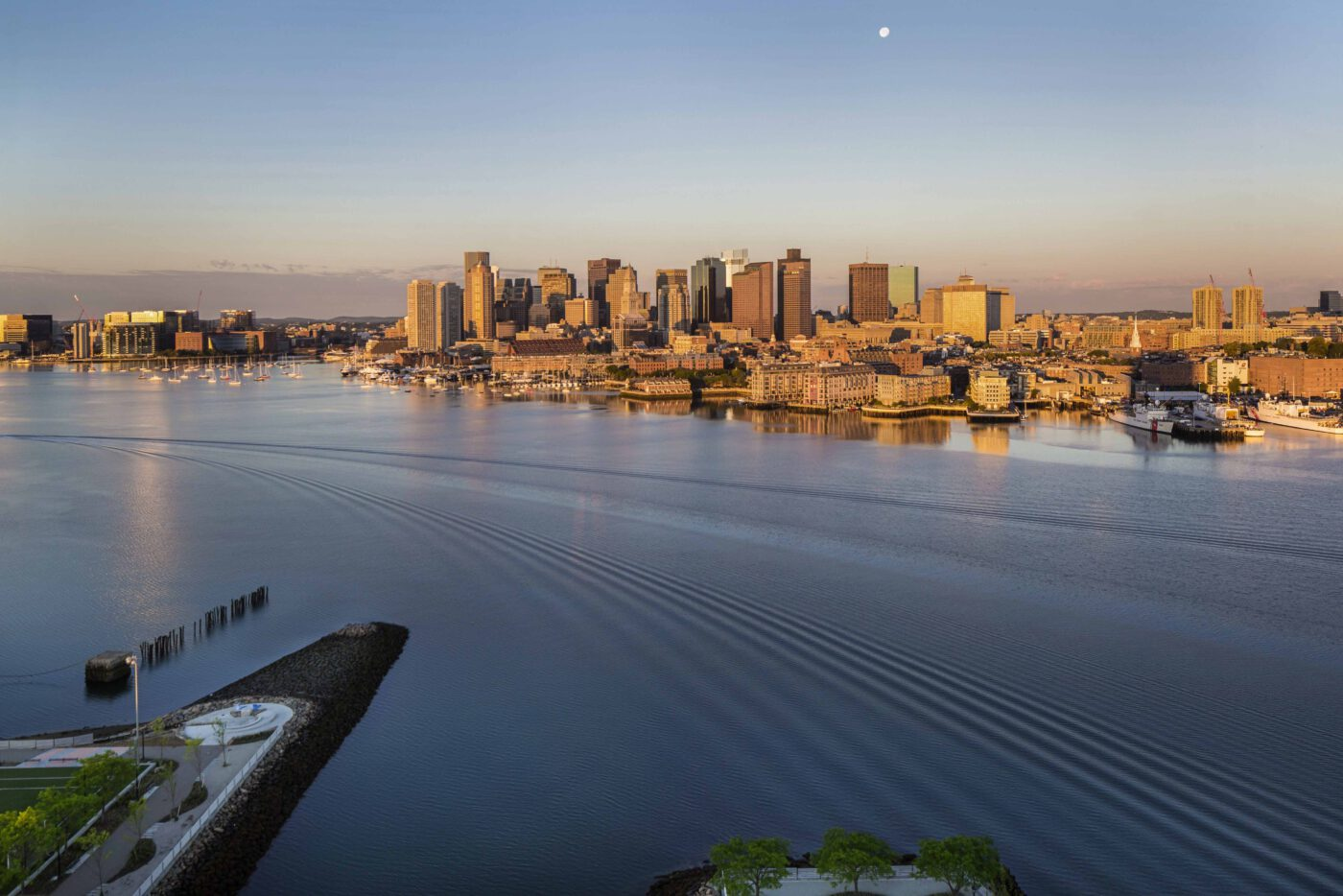 view of Boston skyline and water